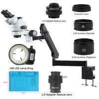 Simul odak 3.5X 90X trinoküler Stereo mikroskop eklemli kol kelepçe yardımcı objektif Lens 144 LED lamba lehimleme için|Mikroskoplar|Aletler -