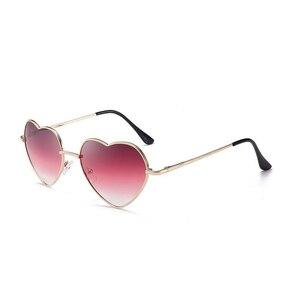 2019 New Heart Shaped Sunglasses Women Fashion Metal Reflective Lens Fashion Sunglasess Mirror oculos de sol(China)