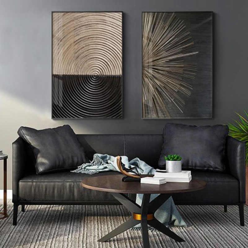 Абстрактные ретро черные золотые Деревянные Художественные постеры, кольца с деревом, кольцо с деревом, радиальные линии, Скандинавская Картина на холсте, картины для домашнего декора