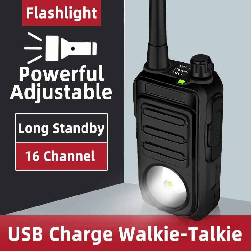USB Charge Walkie Talkie Powerful Flashlight UHF Ham Radio 16CH Long Standby Portable Walkie-talkie USB Outdoor Transceiver