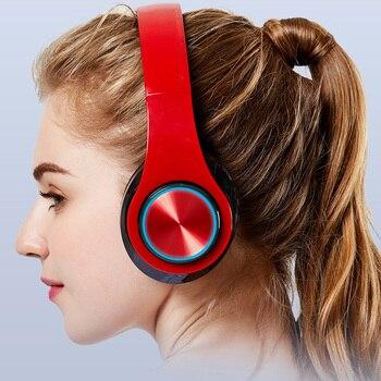 Fones de ouvido sem fio bluetooth fone de ouvido estéreo dobrável para jogos suporte tf cartão LED baixo fone de ouvido sem fio com microfone para telefone pc 1