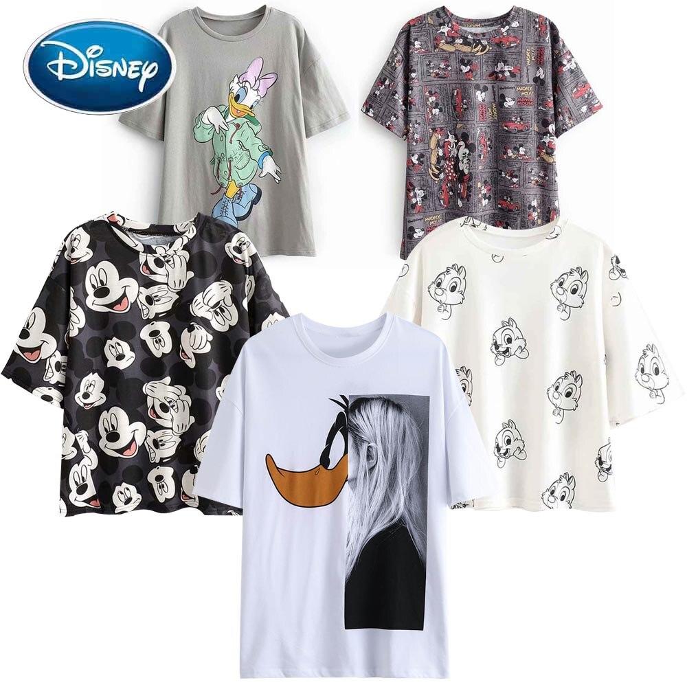 Disney Fashion Cute Mickey Mouse Cartoon Photograph Print Casual Sweet Women T-Shirt O-Neck Pullover Short Sleeve Loose Tee Tops
