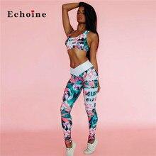 Echoine Fashion 3D Floral Printed Two Piece Set Women Sports Suit Colorful Elastic Crop Tops Slim Long Pencil Pants Streetwear