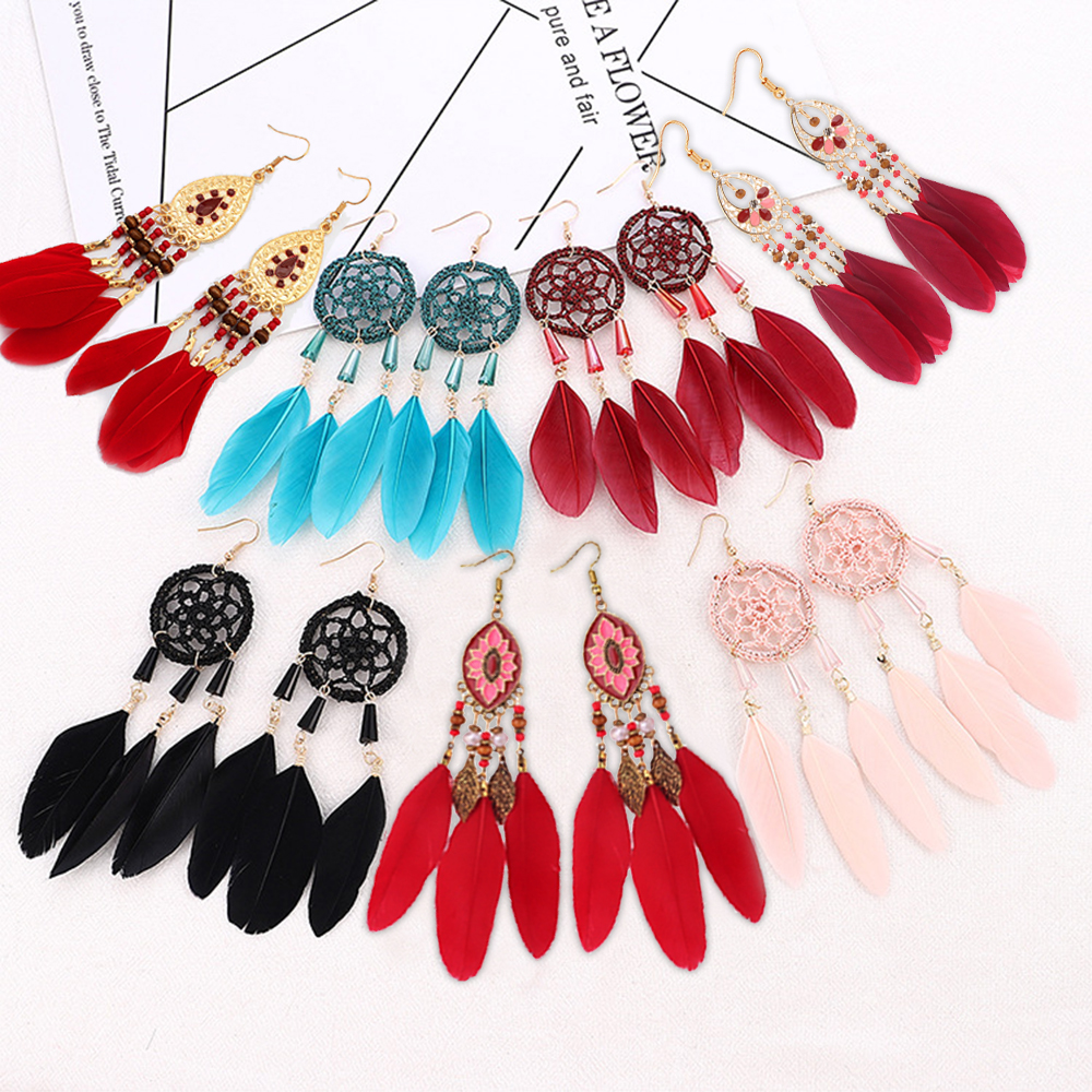 New Bohemian Dream Catcher Drop Feather Red Color Earrings Long Hand-woven Retro Fantasy Exaggerated Tassel Earrings