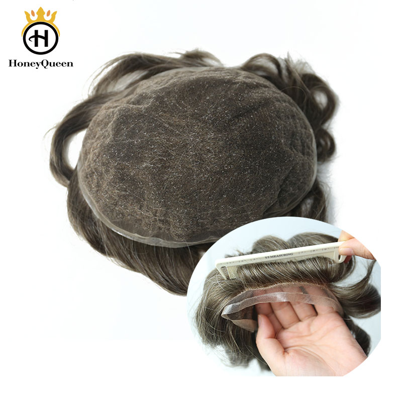 Hair Toupee Men All Lace With PU Around Natural Hair Line 100% European Human Hair Toupee Replacement System 420# Color Remy