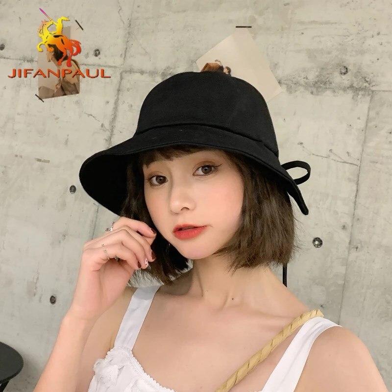 JIFANPAUL-Sombrero de pescador con lazo para mujer, gorro de lavabo, moda desenfadada, sombrilla plegable ajustable, sombrero de pescador para mujer 2021