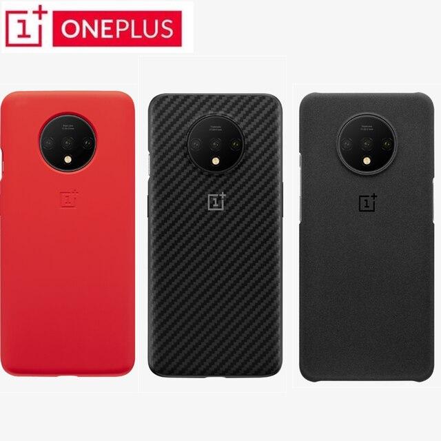 100% Original Oneplus 7T, Stock oficial, arenisca, parachoques, Protección trasera de silicona Karbon