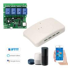 Ewelink スマートリモコンワイヤレススイッチユニバーサルモジュール 4ch dc 5 v 12 v 32 wifi スイッチとシェルタイマー app リモコン