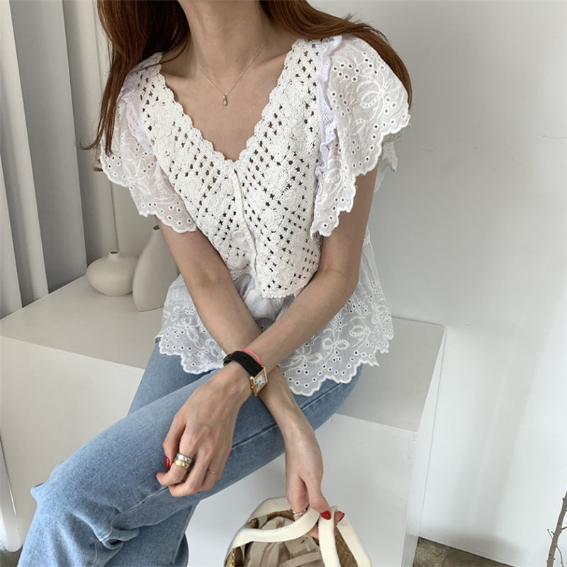 Alien Kitty Summer Hollow Out V-Neck Cute Thin 2020 Streetwear All Match Leisure Girls Casual Retro Sweet Loose Female Shirts