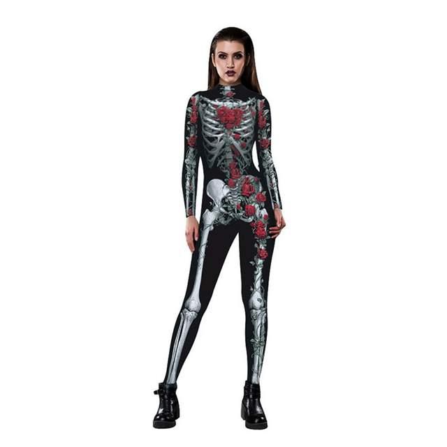 Ladies Curves Skeleton Bones Halloween Fancy Dress Costume Plus Size