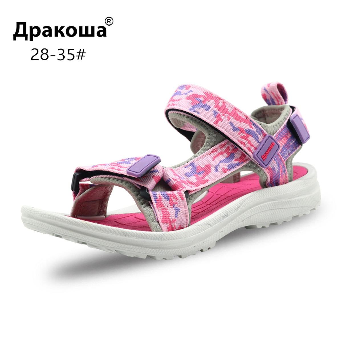 Apakowa Summer Sandals Open Toe Wedge Heel Girl Sandals Hook&Loop Quick Dry Toddler Beach Sandals For Children's Shoes