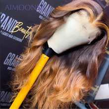 Honey Blonde Lace Front Wigs Body Wave Human Hair Wigs Remy 360 Full Lace Wig Human Hair 360 Lace Frontal Wig 150% Indian(China)