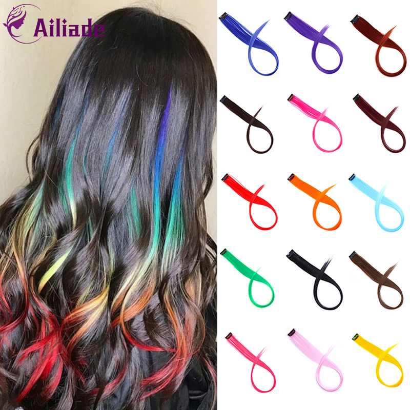 AILIADE 50CM Colorful Single Clip In One Piece Hair Extensions Synthetic Long Straight Ombre Pink Purple Rainbow Hair Piece