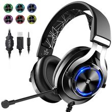 EKSA E3000 Gaming Headphones Headset Gamer Deep Bass Wired Headphone Stereo For Computer PC PS4 Xbox One With Mic LED Light