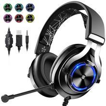 EKSA auriculares E3000 con cable para videojuegos cascos de graves profundos con cable estéreo para ordenador, PC, PS4, Xbox One, con micrófono y luz LED