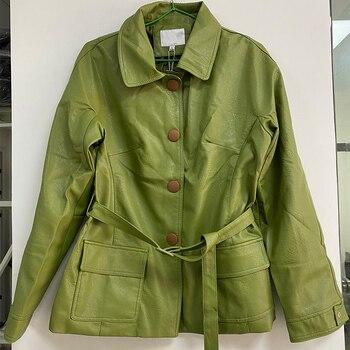 Ailegogo New Women Loose Pu Faux Soft Leather Green Jacket Turndown Collar Biker Overcoat Single Breasted Pocket Coat With Belt 6