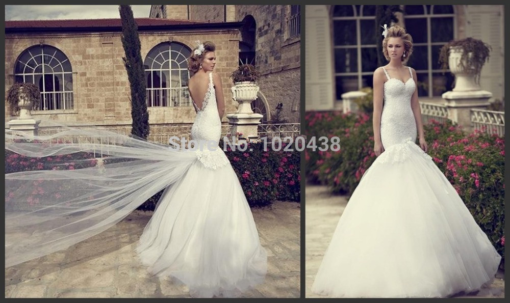 Vestido De Noiva Sexy Backless Mermaid Wedding Dresses White Lace Covered Bodice Spaghetti Straps 2015 Vintage Bridal Gowns