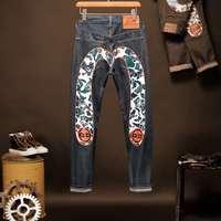 2020 Tide Brand Evisu Top Quality Men's Trousers Breathable Men's Jeans Casual Pants Warm Leisure Straight Men's Jeans Trousers