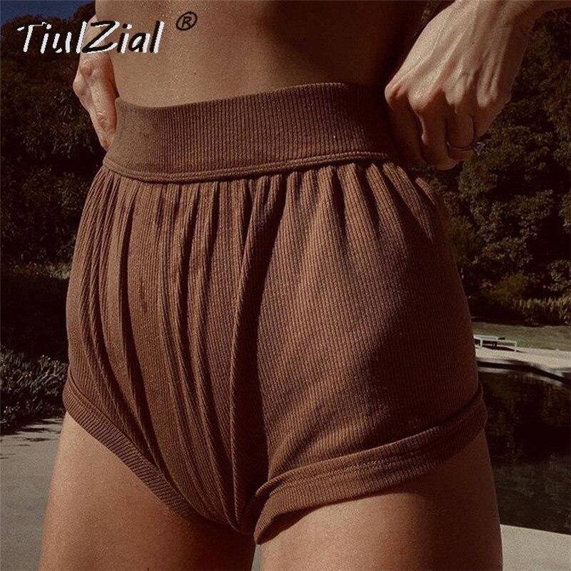 Шорты TiulZial женские трикотажные, повседневные Велосипедки с завышенной талией, короткие домашние пляжные спортивные, с коричневым низом, на ...