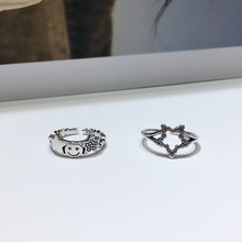 Pure S925 Sterling Thai Silver 925 Original Lover Luxury Open Ended Rings Freely Resizable Inlaid Smiley Star Charm Retro Ring цена 2017