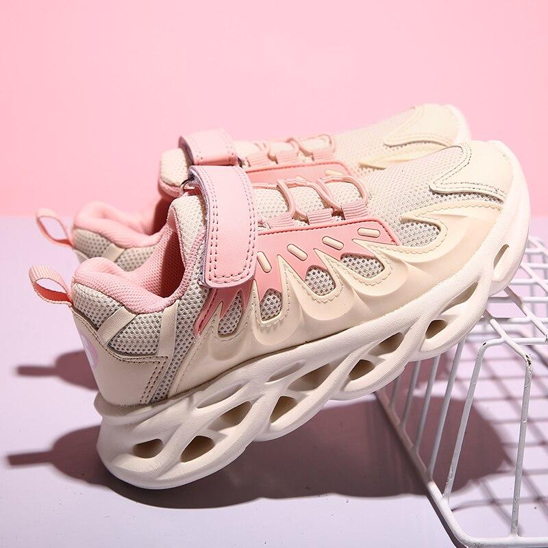 Pink Girls Sport Tenis Shoes Kids Running Sneakers Children Lightweight Hook&Loop School Shoes Boys Breathable Walking Sneakers