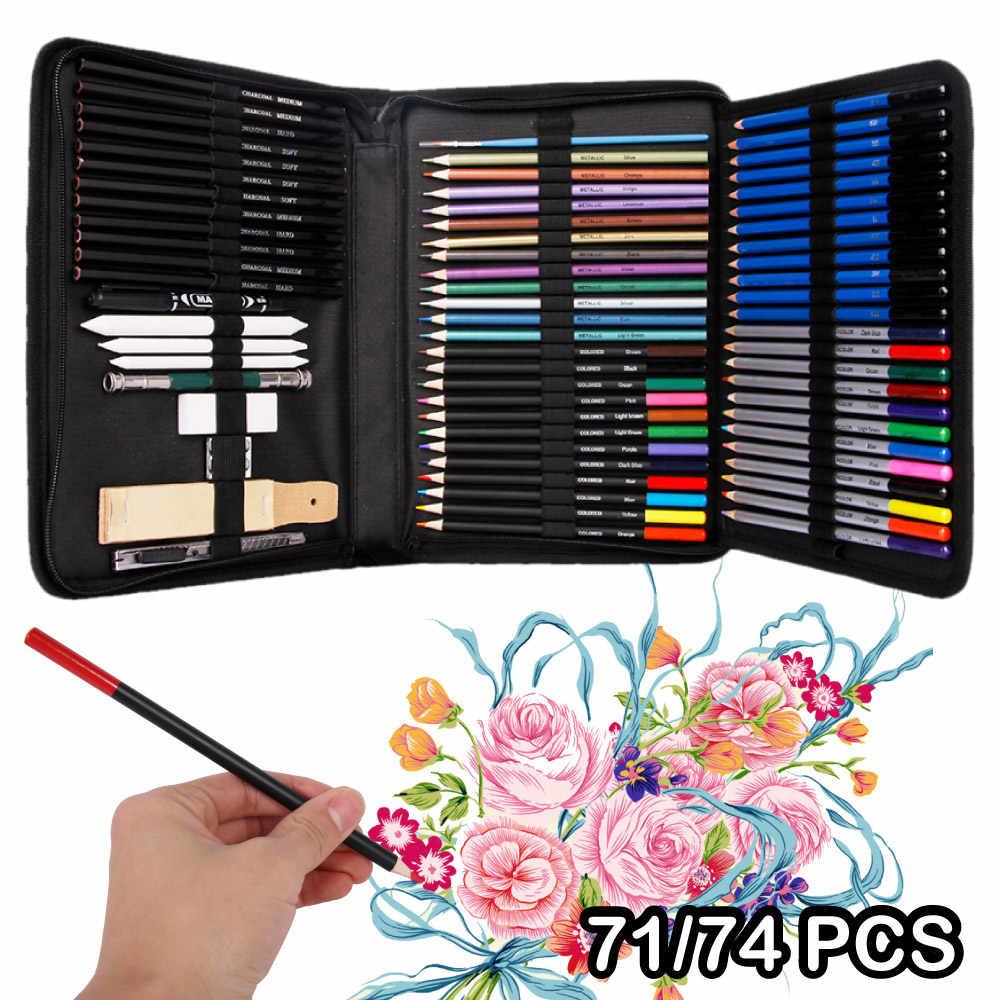71/74Pcs Arte Disegno A Matita Set Colorato Schizzo A Matita Set Professionale Artista Pittura A Olio Schizzo A Matita di Arte di Cancelleria forniture