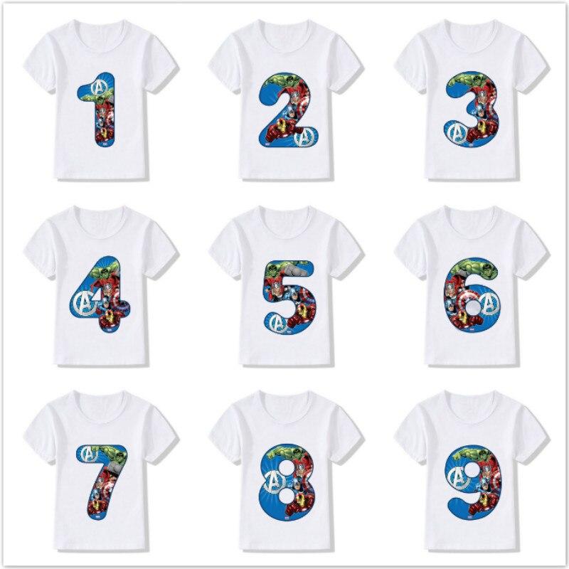 Camiseta do homem de ferro do hulk do vingador do fim do jogo da camiseta das crianças do número 1-9 do feliz aniversario do bebê do super-herói da marvel