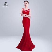 Skyyue Evening Dress O-neck Sleeveless Robe De Soiree Soild Crystal Women Party Dresses 2019 Plus Size Formal Gowns C158