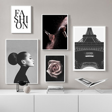 Fashion Posters Pink Rose Paintings Makeup Brush Poster Nordic Canvas Painting Tower Abstract Print Home Decor