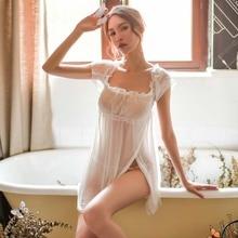 Черная Женская пижама Спящая принцесса ночная рубашка белая марля шифон точка Sheer Seduction сексуальное женское белье Ночная рубашка