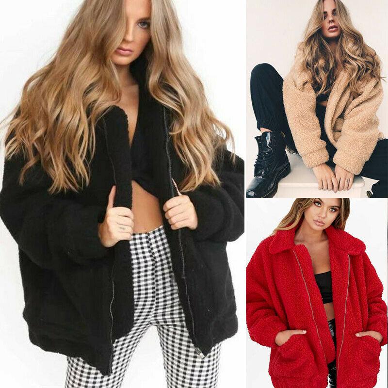 Winter Women's Warm Teddy Bear Pocket Fluffy Coat Fashion Casual Fleece Fur Jacket Outerwear|Faux Fur| - AliExpress
