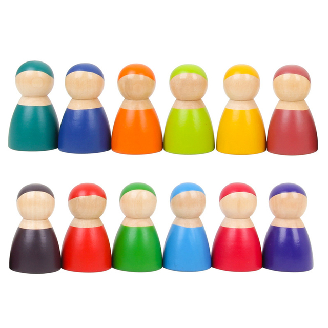 12 pièces bébé jouets blocs en bois dessin animé mignon arc-en-ciel poupée jouets éducatifs en bois Montessori jouets bébé enfants blocs de bois