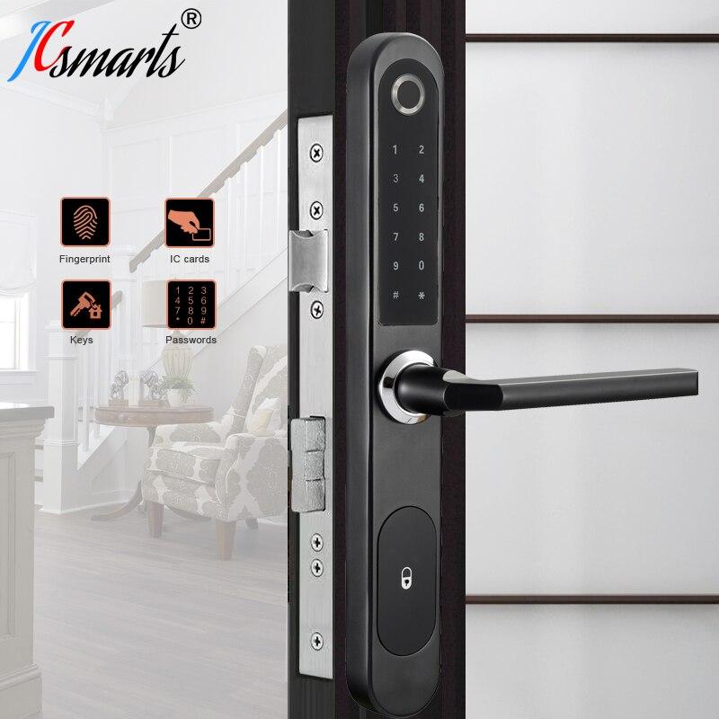 Jcsmarts European Style Cerradura Inteligente Fingerprint Door Lock Fechadura Eletronica Digital Code Lock For Aluminum Door