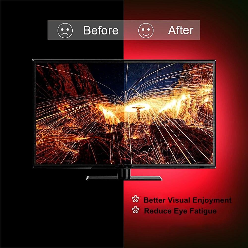 H026f3dd0672a4a0aa509acff93a47580Q RGB Tape Bluetooth USB LED Strip TV Background Flexible Neon Ribbon tira Lamp 5V 0.5M SMD 5050 RF Controller LED RGB Strip Light