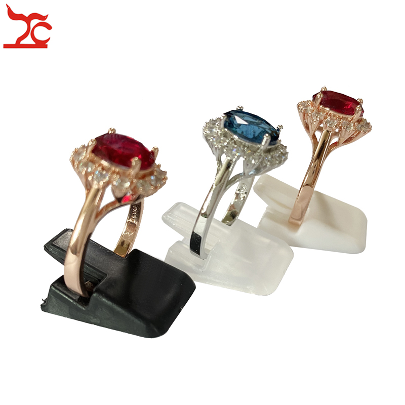20Pcs Mini Ring Holder Stand Plastic Ring Jewelry Display Rack Ring Storage Organizer Shelf Ring  Decoration Clip Stand