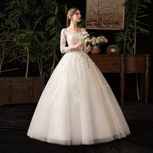 Image 3 - 35% rabat nowa jesienna suknia ślubna z długim rękawem Elelgant królewski tren koronkowy haft księżniczka Vintage Plus Szie suknie ślubne