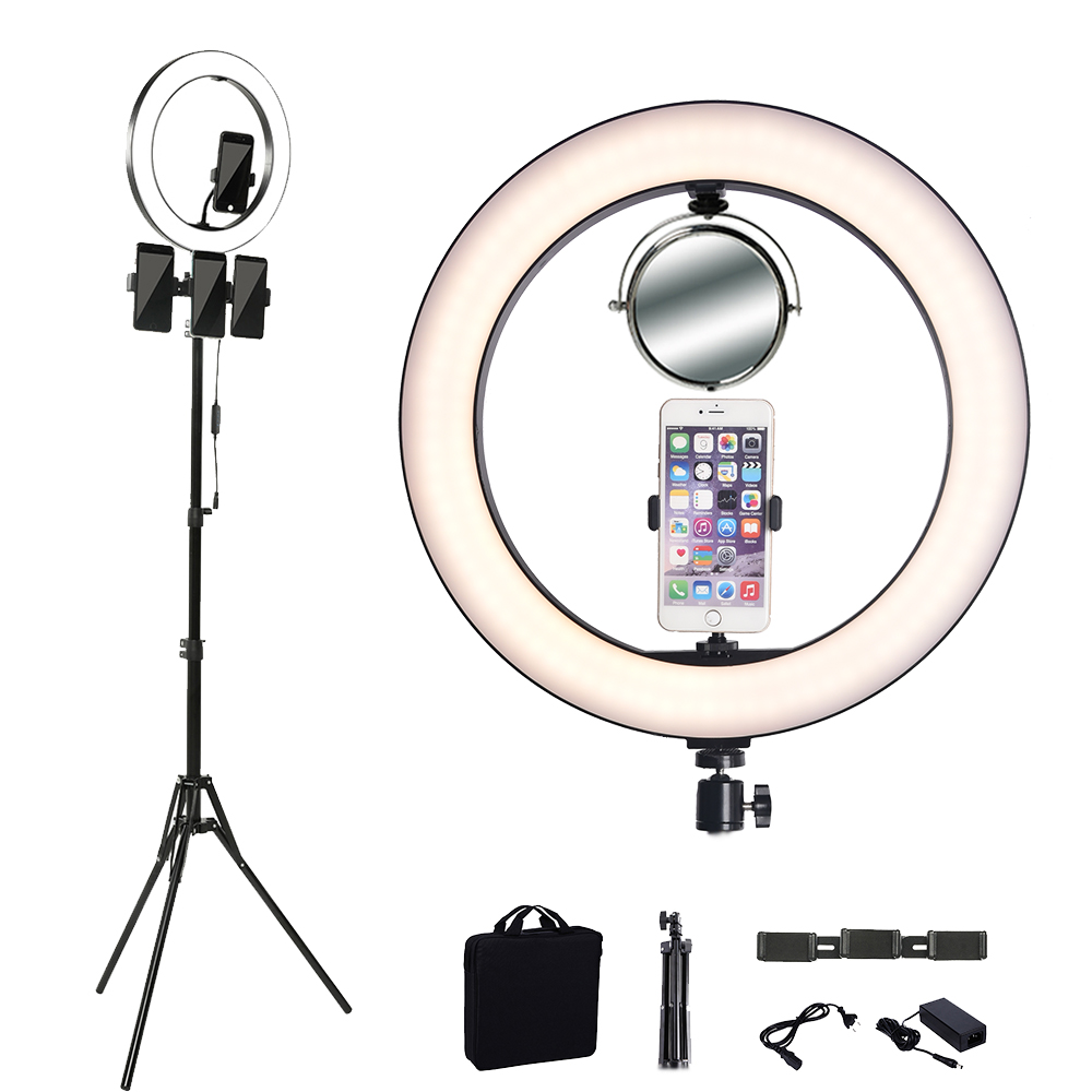 14 Inch Photography Video Light LED Tripod Ring Lamp Youtube Live 3500-5500k Studio Photo Makeup Light For Phone
