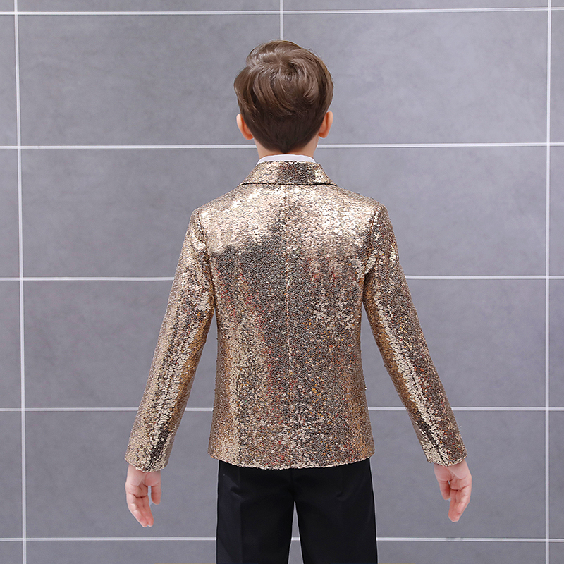 Handsome One Button Sequin Kid Complete Designer Boy Wedding Suit Boys' Attire Custom-made (Jacket+Pants+Tie) 01 4