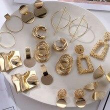 Vintage Earrings Jewelry-Accessories Geometric Statement Gold Metal Women Fashion Trendy