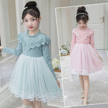 Girls Dress 2019 Autumn New White Princess Denim Dress Full Sleeve  Children Lace Dress Baby Girls Clothes 3 6 7 8 9 12 Years