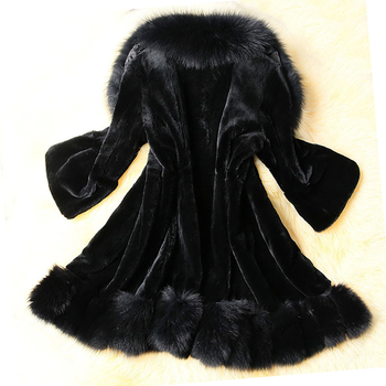 Artificial Rabbit Fur Coats for Women Long Sleeve Plus Size Overcoat Coat Female Warm Plush Jacket