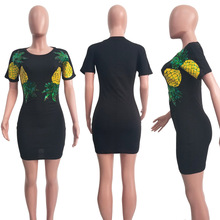 Sequin Bodycon Dress Womens Clothing Short Sleeve Plus Size Dresses Christmas Pineapple T Shirt Dress