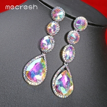 Mecresh Design AB Crystal Drop Earrings for Women Statement Teardrop Summer Long Dangle 2019 Fashion Jewelry MEH1581