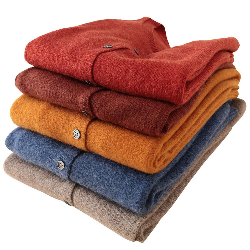 LONGMING 100% Merino Wool Winter Sweater Cardigan Women Winter Clothes Jumper Long Sleeve Warm Tops