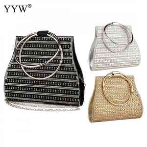 Image 5 - Woman Evening Bag Diamond Rhinestone Clutch Crystal Day Lady Wallet Wedding Purse Party Banquet Silver Handbags Clutches Tote