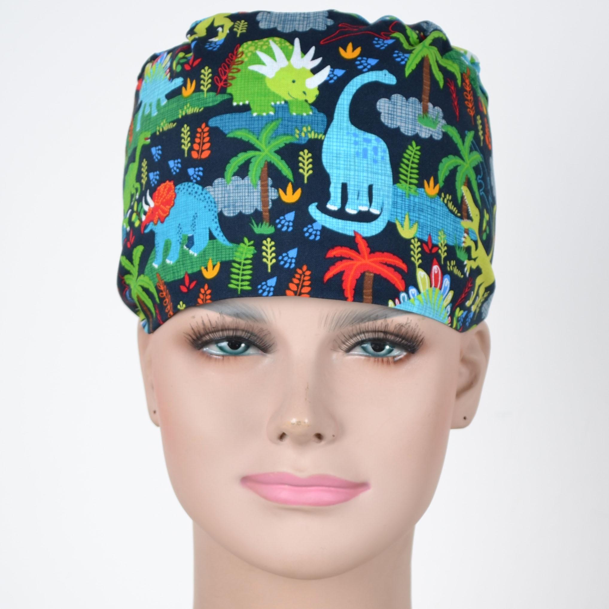 Hennar Unisex Cotton Scrub Caps Masks Hospital Medical Hats Print Adjustable In Dark Blue With Dinosaur Unisex Surgical Caps