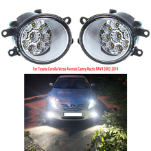 цена на For Toyota Corolla Verso Avensis Camry Ractis RAV4 2003-2014 led fog lights Fog Lamps 2pcs LED DRL day light headlight foglights