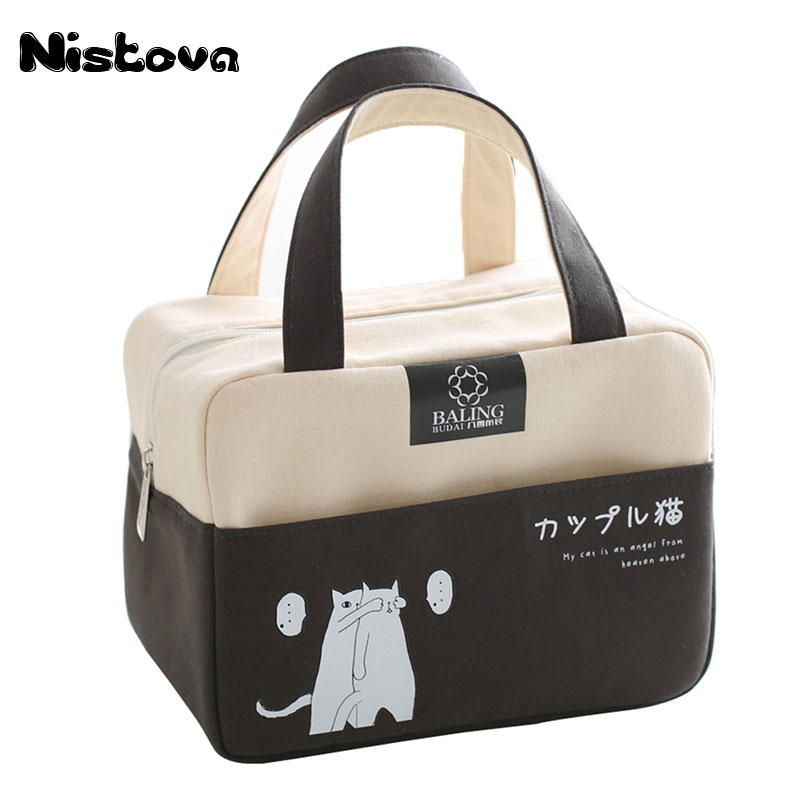 Canvas <font><b>Lunch</b></font> Bags Handbag Women Kid Picnic Bento Box Insulated <font><b>Pack</b></font> Drink Food <font><b>Ice</b></font> Cooler Thermal Leisure Accessories Supplies image