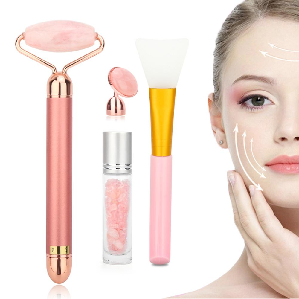 Pink Electric Facial Jade Roller Set Vibrating Face Massager Roller Facial Lifting Skin Tightening Anti-wrinkle Face Care Tool