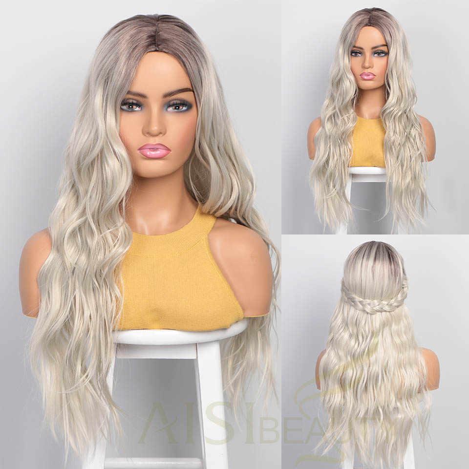 AISI güzellik uzun kadın peruk Ombre platin sarışın peruk isıya dayanıklı parçası yan sentetik dalgalı peruk afrika amerikan kadınlar için
